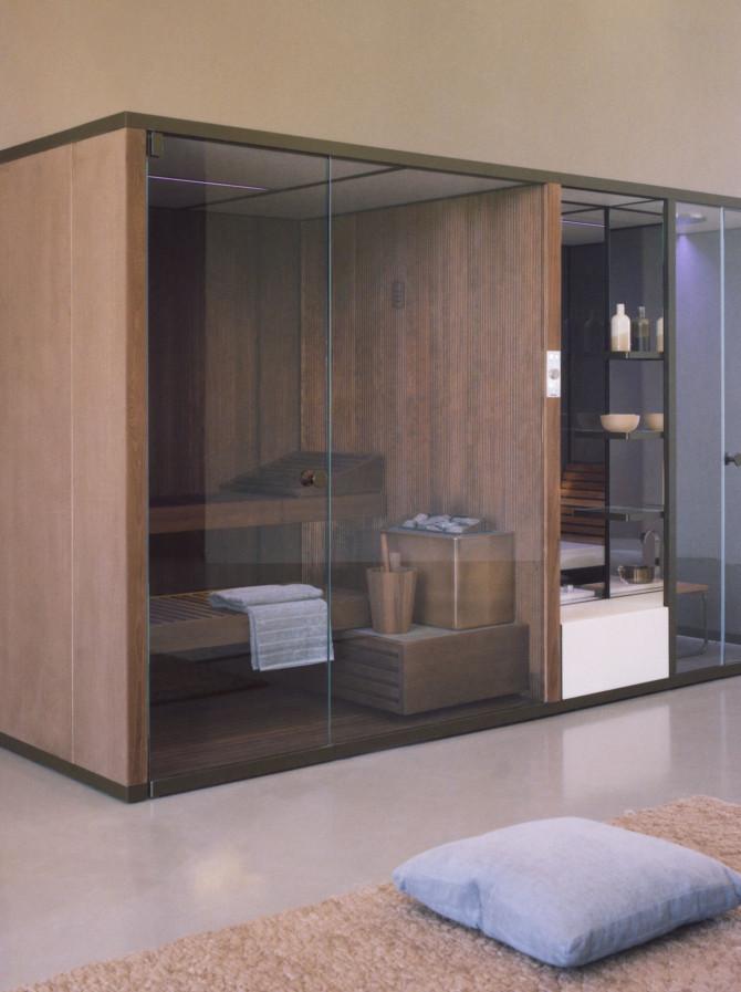 BodyLove SH Sauna in legno termotrattato integrata ad hammam con rivestimento in gres porcellanato Auvergne